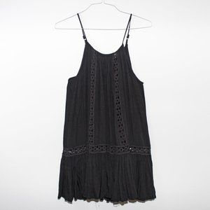 Flared embroidered tank dress black crotchet